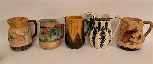 Lot of 5 Majolica pitchers with rare designs