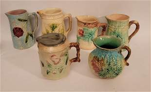 Lot of 6 Majolica pitchers creamers various sizes