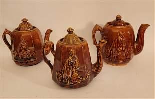 Lot of 3 figural brown Majolica Teapots 