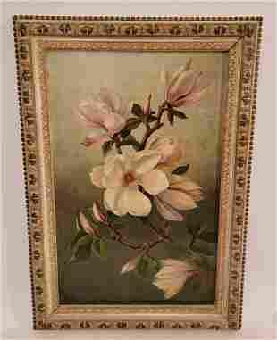 Original oil on Board Magnolia Flowers Unsigned