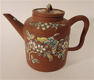 Yixing Teapot with enamel butterflies & flowers signed