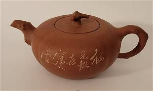 Yixing Teapot with etching signed