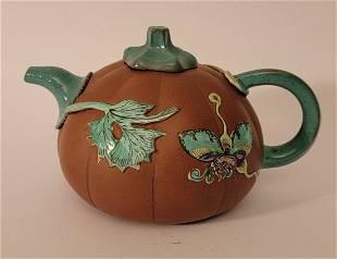 Yixing Teapot with enamel signed