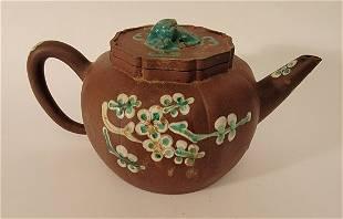 Yixing Teapot with enamel Bird & flowers signed
