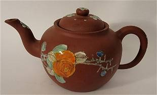 Yixing Teapot with enamel flowers bamboo signed