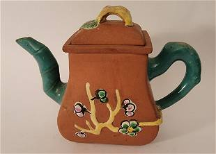 Yixing Teapot with enamel flowers bamboo