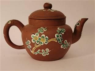 Yixing Teapot with enamel flowers signed