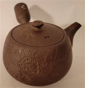 Yixing Teapot with etched flowers and symbols