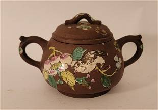 Yixing Teapot very small with enameled flowers Bird