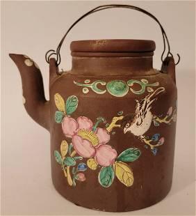 Yixing Teapot with enamel flowers Bird signed