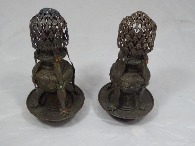 Pair of Copper Incense Burners inset with Coral and