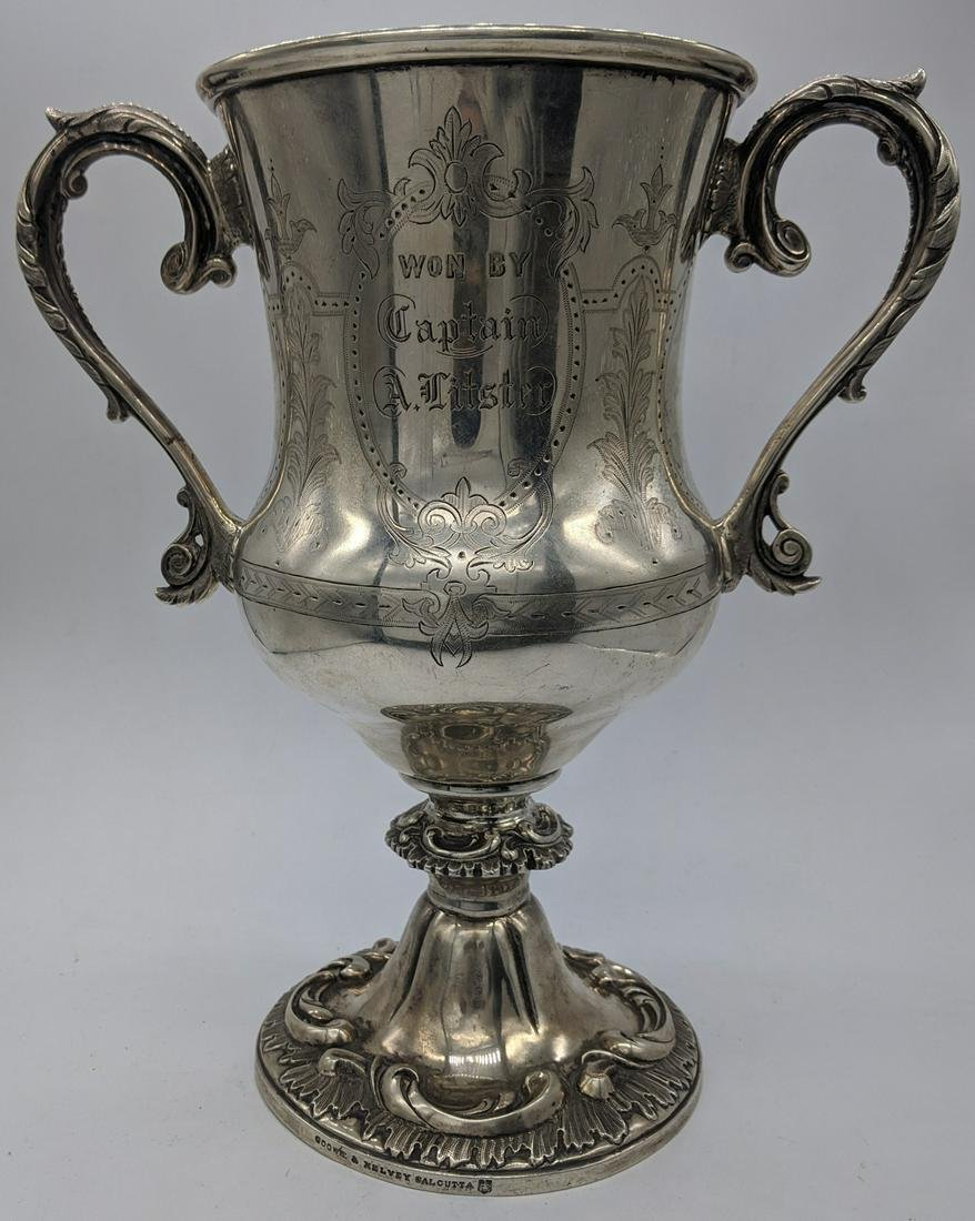 A twin handled silver cup by Cooke & Kelvey of