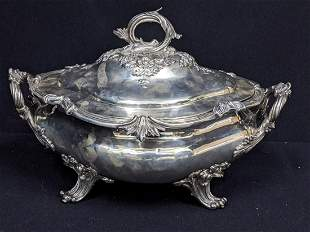 A large early Victorian silver soup tureen, twin