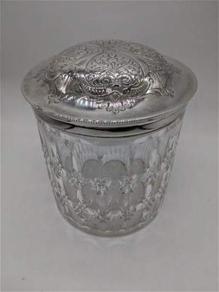 A large silver plated and cut glass biscuit jar, H.16cm