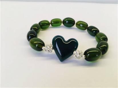 Green Baltic amber bracelet