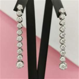 2.20 CT Round Cut Diamond Long Dangle Earrings 14K