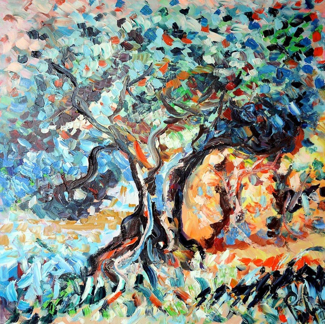 albero al tramonto acrilico su tela 80x80cm