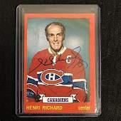HENRI RICHARD SIGNED VINTAGE HOCKEY CARD