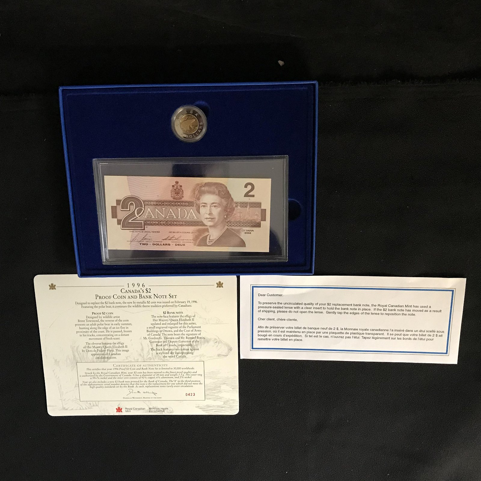 1996 CANADA'S $2 PROOF COIN & BANK NOTE SET (ROYAL