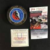 MULTI SIGNED HOCKEY HALL OF FAME PUCK w/ JEAN BELIVEAU,