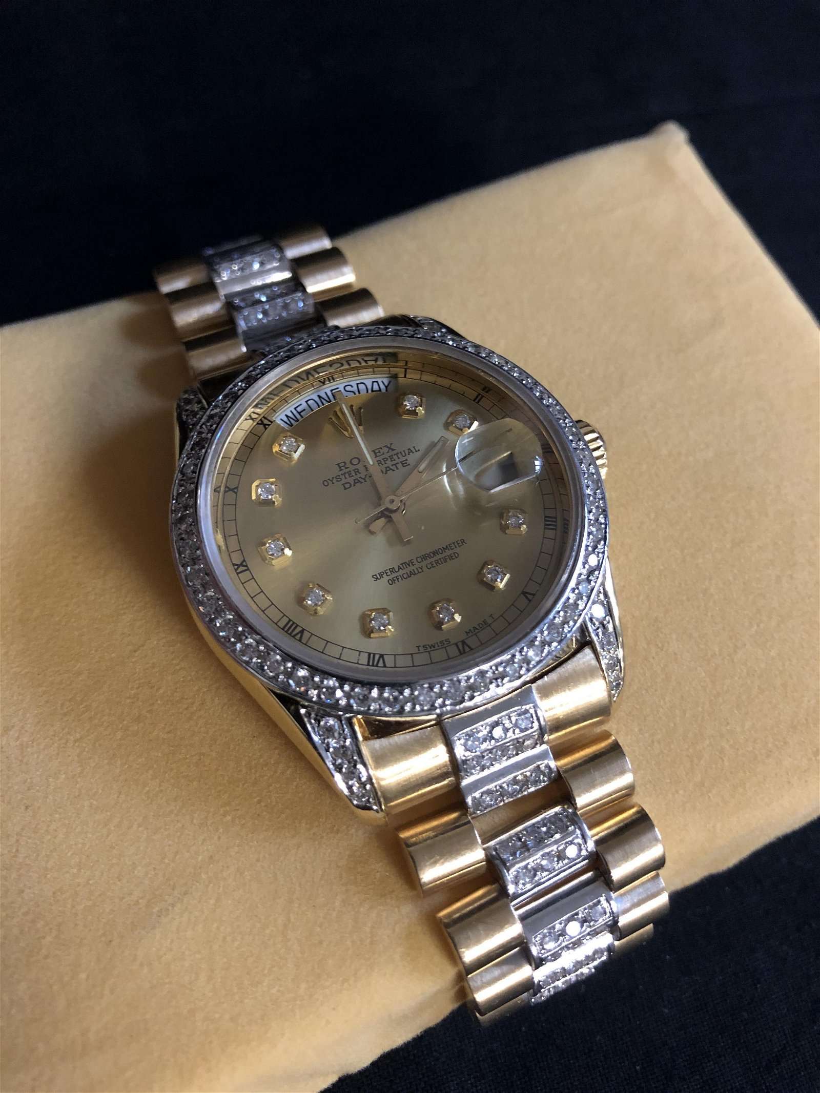 18K GOLD ROLEX OYSTER PERPETUAL DATE DIAMOND CRUSTED