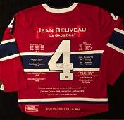 JEAN BELIVEAU SIGNED CANADIENS CAPTAIN STATS JERSEY
