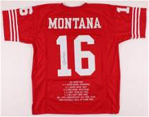 Joe Montana Signed Career Highlight Stat Jersey (JSA