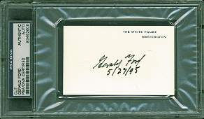 "Gerald R. Ford ""5/27/95"" Authentic Signed 2.5x4 White"