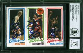 Bird Erving  Magic Signed 1980 Topps Rookie Card Auto