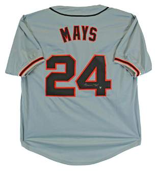 Willie Mays Authentic Signed Grey Pro Style Jersey