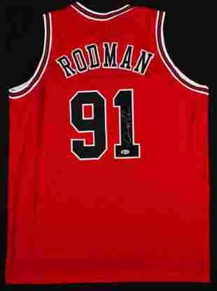 Dennis Rodman Signed Jersey (Beckett COA)