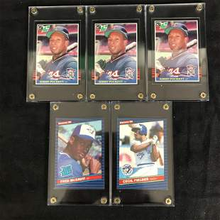 1980'S MLB BASEBALL ROOKIE CARD LOT (PUCKETT, MCGRIFF,