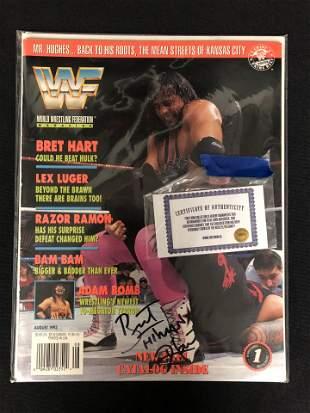 BRET THE HITMAN HART SIGNED WWF MAGAZINE W/COA