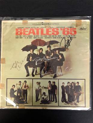 """THE BEATLES BAND SIGNED """"BEATLES '65"""" ALBUM COVER (In"""