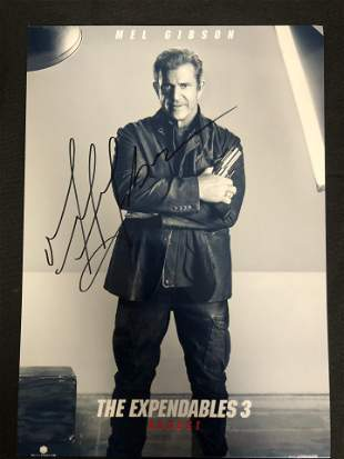 MEL GIBSON SIGNED THE EXPENDABLE 3 MOVIE POSTER (RA COA