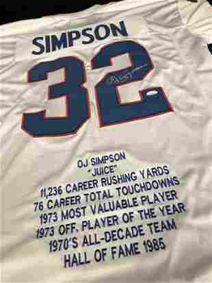 O.J. SIMPSON SIGNED BILLS CAREER STATS PRO STYLE JERSEY
