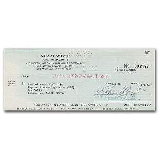ADAM WEST SIGNED PERSONAL BANK CHEQUE ( FROZEN POND