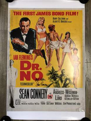 Sean Connery Signed Dr. No Movie Poster (Real Authentic