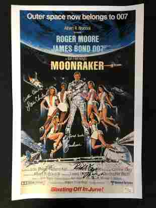 CAST SIGNED 24x36 MOONRAKER MOVIE POSTER w/ ROGER MOORE
