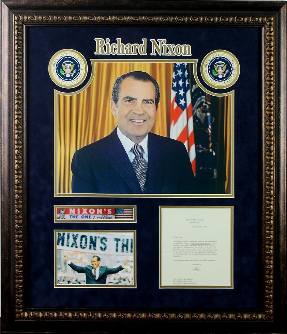 RICHARD NIXON SIGNED WHITE HOUSE CORRESPONDANCE FRAMED