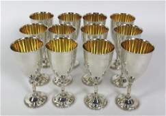 Set of 12 sterling silver wine goblets
