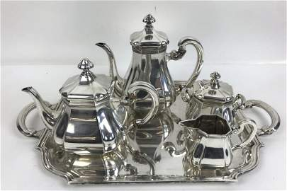 Sterling silver 5 piece tea and coffee set