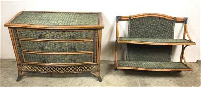 Bamboo and green wicker 3 drawer chest
