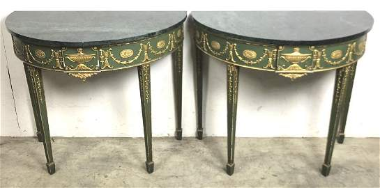 Pair of Neoclassical style marble top consoles