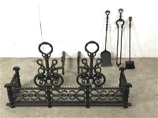 Arts & Crafts style wrought iron fire place set