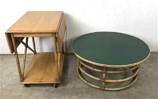 Bamboo drinks cart and low table
