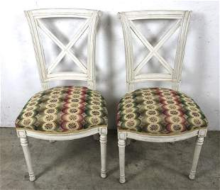 Pair of Louis XVI style white painted  side chairs