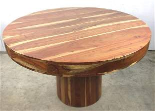 Exotic wood circular dining table