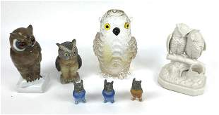 Group of 7 porcelain and glass owls