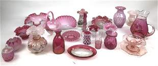 Group of pink and red glass articles
